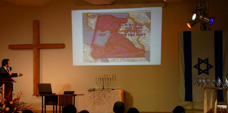 Pikman erläuert die Karte zu den zukünftigen israelischen Grenzen