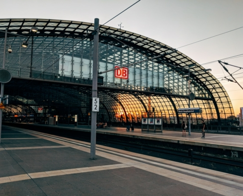 view of train station during golden hour